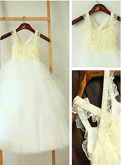 Modern Ankle-length A-Line/Princess Flower Girl Dresses Square Neckline Sleeveless (010211939)