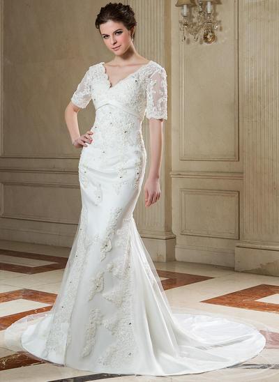 Luxurious Chapel Train Trumpet/Mermaid Wedding Dresses Sweetheart Tulle Short Sleeves (002196865)