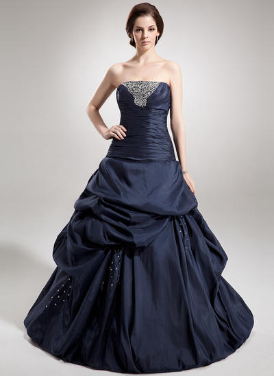 Taffeta Sleeveless Ball-Gown Prom Dresses Strapless Ruffle Beading Sequins Floor-Length (018135549)