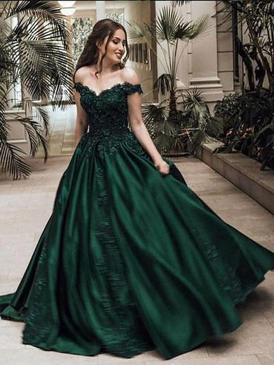 Satin Sleeveless Ball-Gown Prom Dresses Off-the-Shoulder Beading Appliques Lace Sweep Train (018148444)