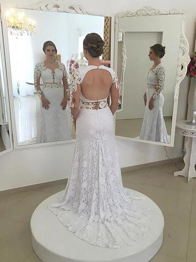 Stunning Sweep Train Sheath/Column Wedding Dresses Scoop Lace Long Sleeves (002210871)