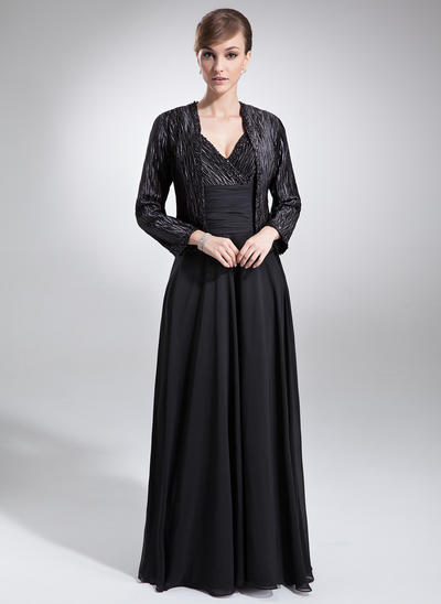 A-Line/Princess V-neck Chiffon Charmeuse Sleeveless Floor-Length Ruffle Beading Mother of the Bride Dresses (008006052)