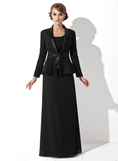 Sheath/Column Scoop Neck Chiffon Sleeveless Floor-Length Mother of the Bride Dresses (008211197)