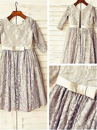 Elegant Tea-length A-Line/Princess Flower Girl Dresses Scoop Neck Lace 3/4 Sleeves (010211980)
