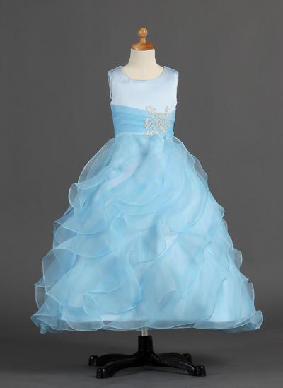 Stunning Ankle-length A-Line/Princess Flower Girl Dresses Scoop Neck Organza/Satin Sleeveless (010007297)