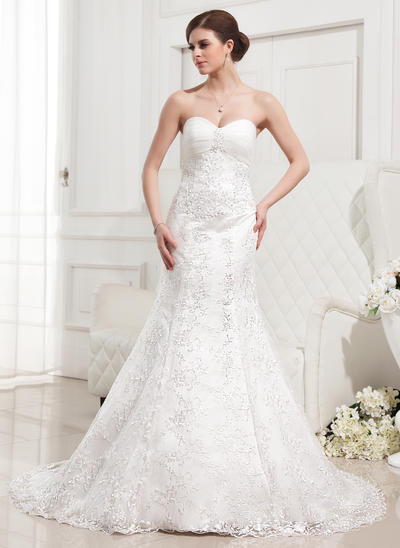 Chic Court Train Trumpet/Mermaid Wedding Dresses Sweetheart Lace Sleeveless (002210417)
