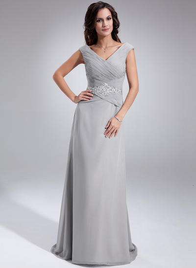 A-Line/Princess Off-the-Shoulder Chiffon Sleeveless Sweep Train Ruffle Beading Sequins Mother of the Bride Dresses (008005681)