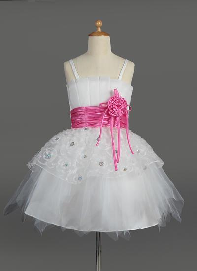 Princess Knee-length Empire Flower Girl Dresses Scalloped Neck Tulle/Charmeuse Sleeveless (010014602)