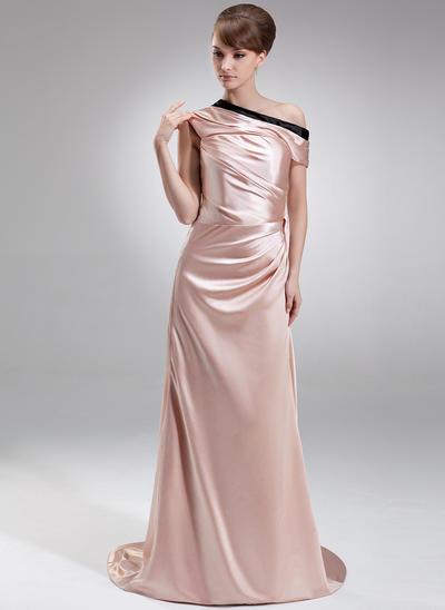Sheath/Column Off-the-Shoulder Charmeuse Sleeveless Sweep Train Ruffle Sash Evening Dresses (017201165)