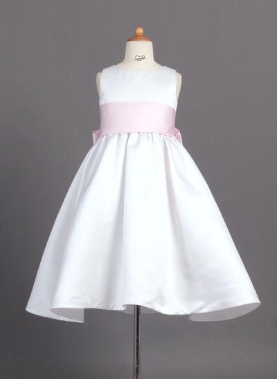 Newest Ankle-length Ball Gown Flower Girl Dresses Scoop Neck Satin Sleeveless (010007314)