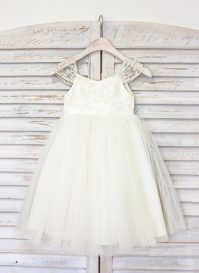 Chic Knee-length A-Line/Princess Flower Girl Dresses Straps Tulle Sleeveless (010211615)