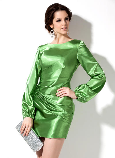 Sheath/Column Scoop Neck Charmeuse Long Sleeves Short/Mini Ruffle Beading Cocktail Dresses (016008265)