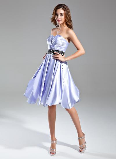 A-Line/Princess Sweetheart Charmeuse Sleeveless Knee-Length Ruffle Sash Beading Cocktail Dresses (016015585)
