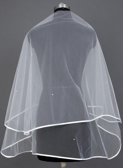 Waltz Bridal Veils Tulle One-tier Classic With Ribbon Edge Wedding Veils (006151573)