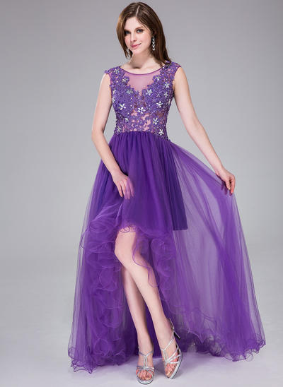 Tulle Sleeveless A-Line/Princess Prom Dresses Scoop Neck Beading Appliques Lace Flower(s) Sequins Asymmetrical (018041121)