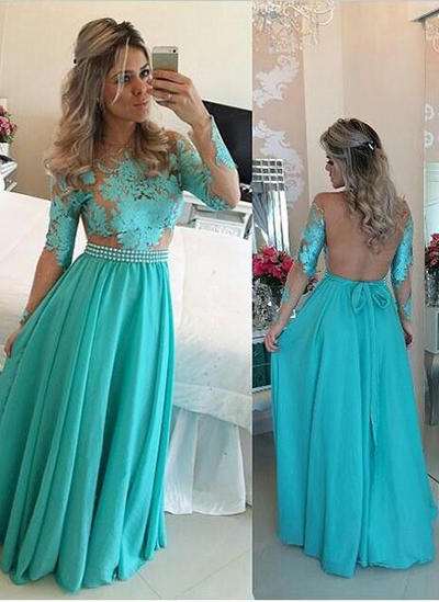 Long Sleeves A-Line/Princess Prom Dresses Scoop Neck Ruffle Sash Appliques Lace Floor-Length (018212213)