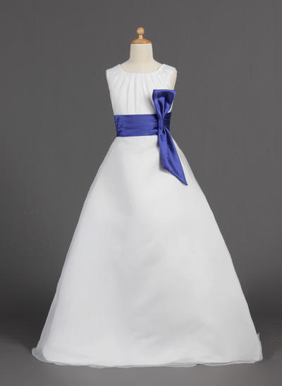 Elegant Floor-length A-Line/Princess Flower Girl Dresses Scoop Neck Organza/Satin Sleeveless (010005810)