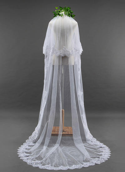 Cathedral Bridal Veils Tulle Two-tier Oval With Lace Applique Edge Wedding Veils (006152175)