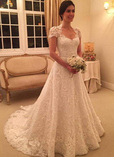 Modern Court Train Ball-Gown Wedding Dresses Sweetheart Lace Short Sleeves (002144823)
