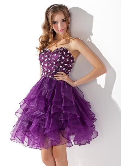 A-Line/Princess Sweetheart Organza Sleeveless Knee-Length Beading Cascading Ruffles Cocktail Dresses (016013753)