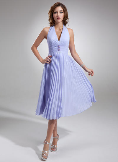 Chiffon Sleeveless A-Line/Princess Bridesmaid Dresses Halter Beading Pleated Knee-Length (007001067)