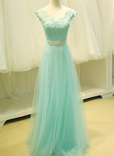 Tulle Sleeveless A-Line/Princess Prom Dresses V-neck Lace Beading Sequins Floor-Length (018196648)