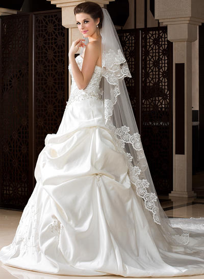 Chapel Bridal Veils Tulle Two-tier Drop Veil With Lace Applique Edge Wedding Veils (006151514)