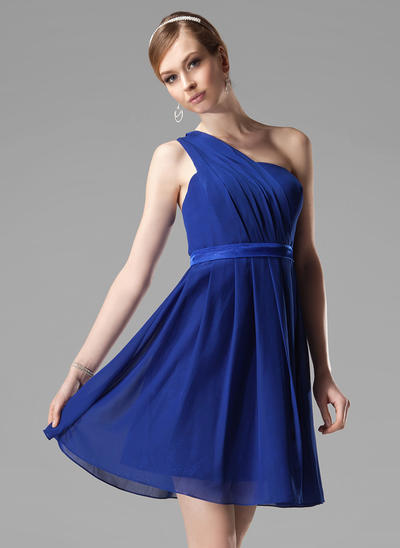 Chiffon Sleeveless A-Line/Princess Bridesmaid Dresses One-Shoulder Ruffle Short/Mini (007000777)
