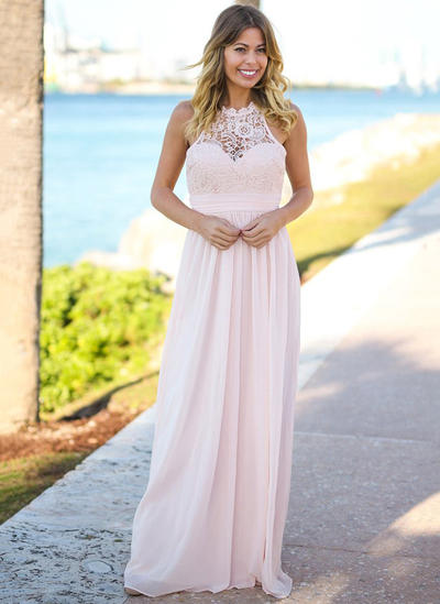 Chiffon Lace Sleeveless A-Line/Princess Bridesmaid Dresses Scoop Neck Floor-Length (007145058)