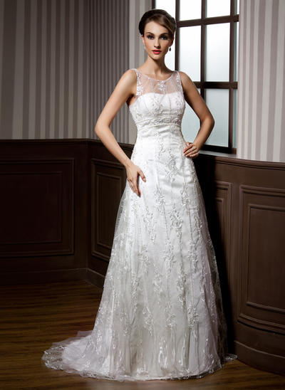 Chic Sweep Train A-Line/Princess Wedding Dresses Scoop Lace Sleeveless (002196843)