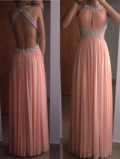 Sleeveless A-Line/Princess Prom Dresses Scoop Neck Beading Floor-Length (018212211)