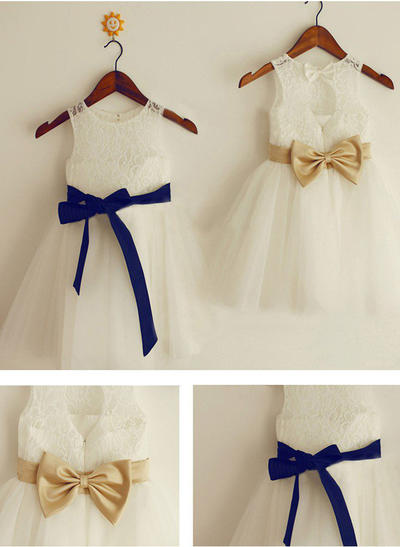 Flattering Knee-length A-Line/Princess Flower Girl Dresses Scoop Neck Tulle/Lace Sleeveless (010211864)