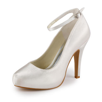 Women's Closed Toe Pumps Cone Heel Satin With Buckle Wedding Shoes (047202739)