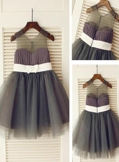 Fashion Knee-length A-Line/Princess Flower Girl Dresses Scoop Neck Tulle Sleeveless (010211962)