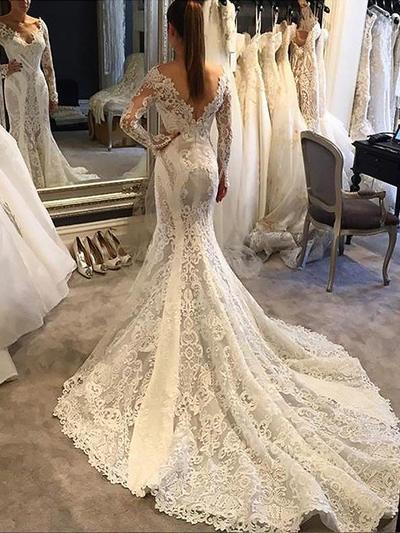 Stunning Chapel Train Trumpet/Mermaid Wedding Dresses V-neck Lace Long Sleeves (002213444)