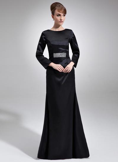 Etui-Linie U-Ausschnitt Charmeuse Lange Ärmel Bodenlang Perlstickerei Kleider für die Brautmutter (008006227)