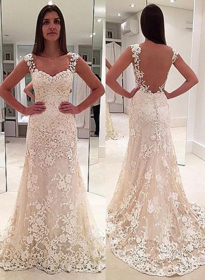 Gorgeous Court Train Sheath/Column Wedding Dresses Sweetheart Lace Sleeveless (002147825)