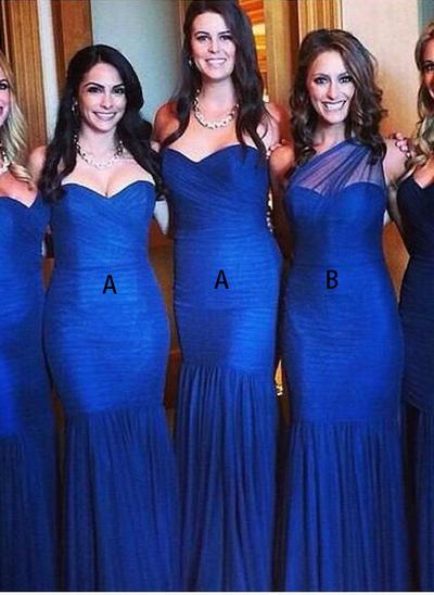 Tulle Sleeveless Trumpet/Mermaid Bridesmaid Dresses Sweetheart One-Shoulder Ruffle Floor-Length (007144988)