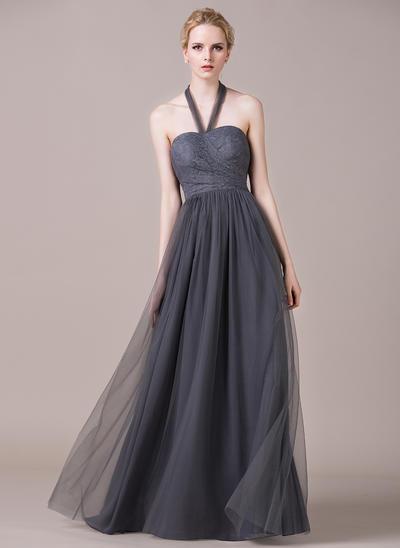 Tulle Lace Sleeveless A-Line/Princess Bridesmaid Dresses Halter Ruffle Floor-Length (007059454)
