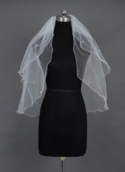 Elbow Bridal Veils Tulle Two-tier Classic With Scalloped Edge Wedding Veils (006151544)
