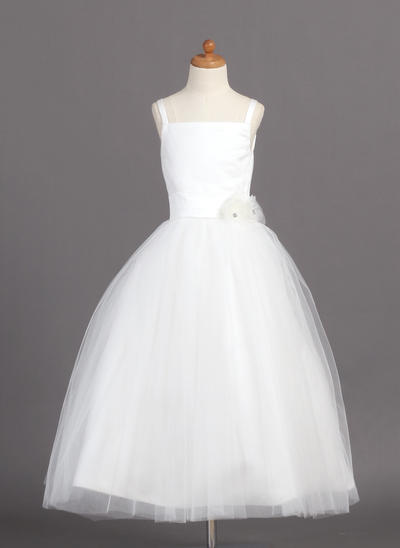 Modern Ankle-length Ball Gown Flower Girl Dresses Straps Satin/Tulle Sleeveless (010004208)