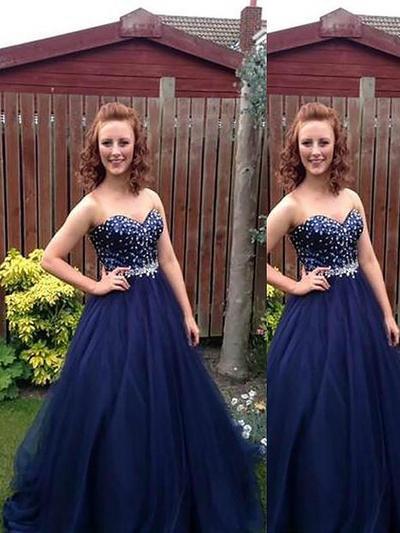 Tulle Sleeveless Ball-Gown Prom Dresses Sweetheart Beading Floor-Length (018210351)