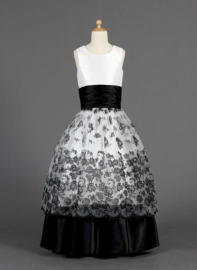 Fashion Floor-length Ball Gown Flower Girl Dresses Scoop Neck Organza/Charmeuse Sleeveless (010014627)