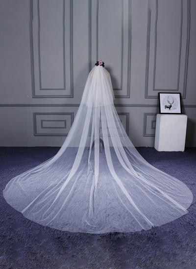 Cathedral Bridal Veils Tulle/Lace One-tier Classic With Cut Edge Wedding Veils (006152447)