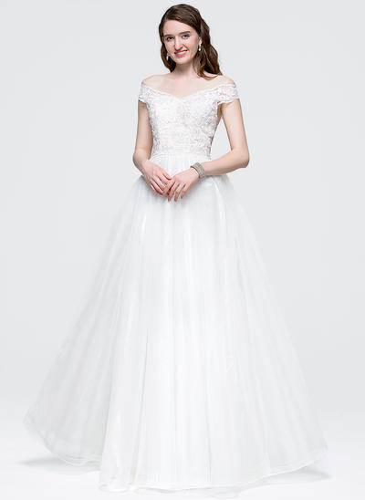 Ball-Gown Off-the-Shoulder Floor-Length Tulle Prom Dresses With Bow(s) (018089720)