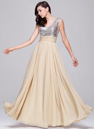 Chiffon Sequined Sleeveless A-Line/Princess Prom Dresses V-neck Ruffle Floor-Length (018210624)