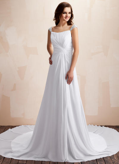 Delicate Chapel Train A-Line/Princess Wedding Dresses Sweetheart Chiffon Sleeveless (002196867)