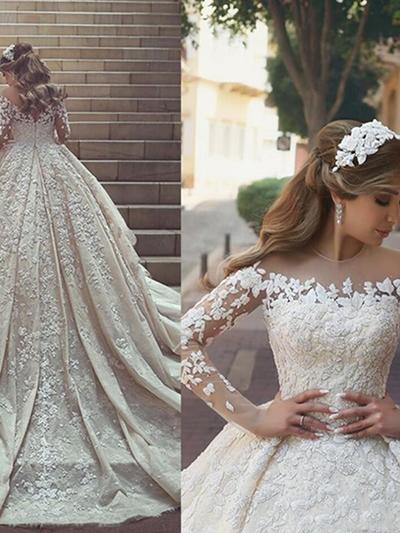 Glamorous Chapel Train Ball-Gown Wedding Dresses Scoop Satin Long Sleeves (002213514)