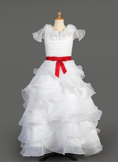 Elegant Floor-length A-Line/Princess Flower Girl Dresses Scoop Neck Taffeta/Organza Sleeveless (010007627)