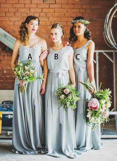 Chiffon Sleeveless A-Line/Princess Bridesmaid Dresses V-neck Scoop Neck Sash Floor-Length (007212230)